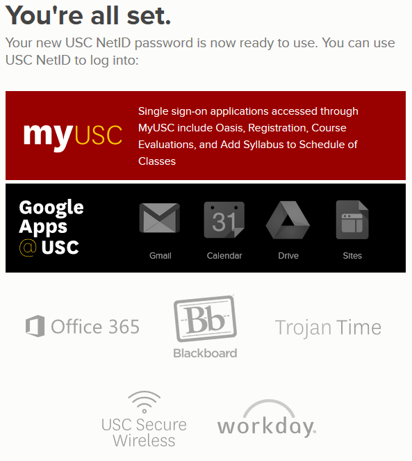 Usc password change
